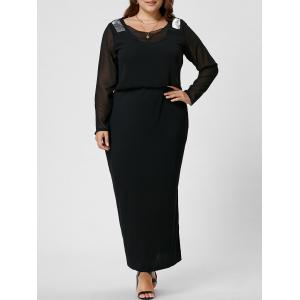 Long Sleeve Sequin Plus Size Long Dress