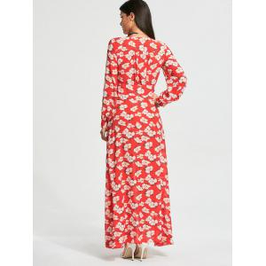 Floral Print Button Up Chiffon Maxi Dress with Split - RED M