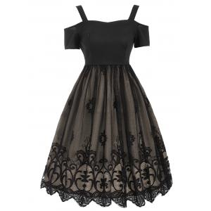 Lace Panel Vintage Fit and Flare Dress