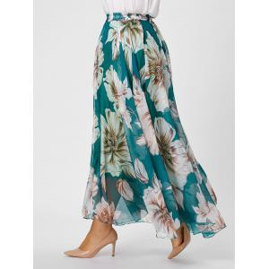Elastic Waist Plus Size Floral Maxi Skirt - Green - 3xl