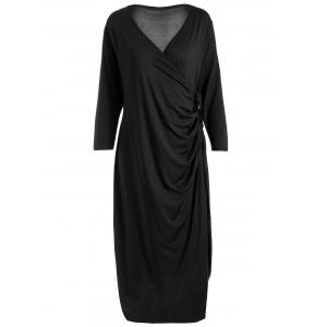 Knee Length Wrap Plus Size Dress