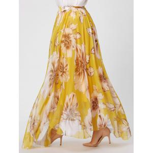 Elastic Waist Plus Size Floral Maxi Skirt - YELLOW 3XL