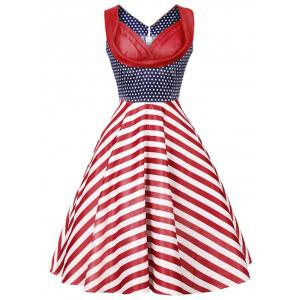 Vintage Stars and Stripes Print Dress