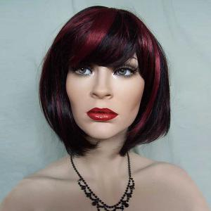 Short Side Bang Fluffy Straight Bob Colormix Synthetic Wig