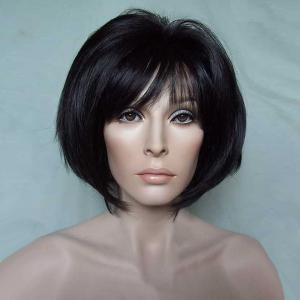 Short Oblique Bang Glossy Straight Bob Synthetic Wig