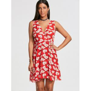 Floral Print Sleeveless Skater Dress - RED 2XL