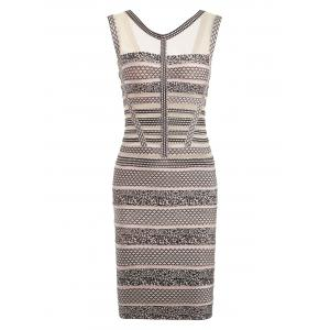 Mesh Panel Sleeveless Print Bandage Dress