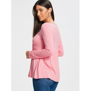 Empire Waist Lace Up Long Sleeve T-shirt - LIGHT PINK S
