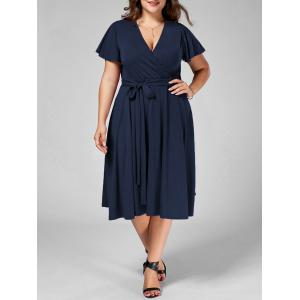 Plus Size V Neck Belted Midi Dress - Purplish Blue - 4xl