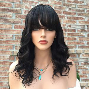 Long Inclined Bang Wavy Human Hair Wig - Black