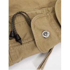 Zip Fly String Pocket Cargo Pants - Vert Armée 34