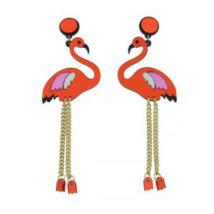 Bird Wings Chain Drop Earrings - Red