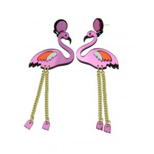 Bird Wings Chain Drop Earrings - PURPLE