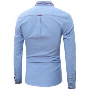 Stripe Detail Long Sleeve Pocket Shirt - AZURE 4XL