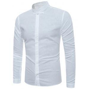 Mandarin Collar Floral Elbow Patch Shirt