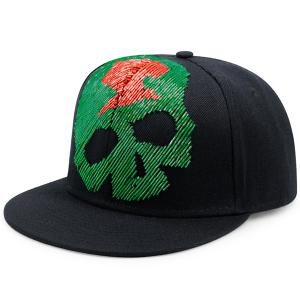 Shimmering Bead Tube Skull Shape Baseball Hat