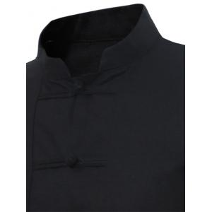 Mandarin Collar Frog Button Shirt - Noir 5XL