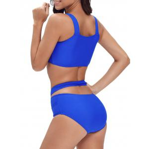 Criss Cross Bandage Ensemble de bikini brodé - Royal 2XL