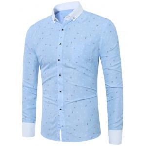 Anchor Print Button Down Pocket Shirt