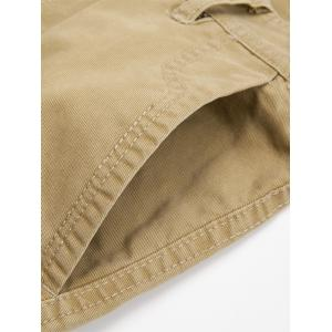 Zip Fly String Pocket Cargo Pants - KHAKI 34