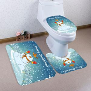3Pcs Christmas Snowman Pattern Bathroom Rugs Set