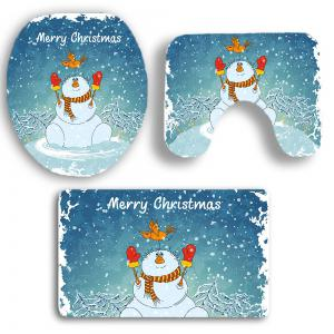 3Pcs Christmas Snowman Pattern Bathroom Rugs Set -