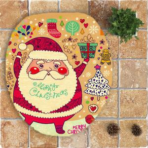 Nonslip Cartoon Santa Claus Pattern 3Pcs Bathroom Rugs Set - COLORFUL