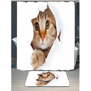 Cat Printed Waterproof Bath Curtain Carpet Set