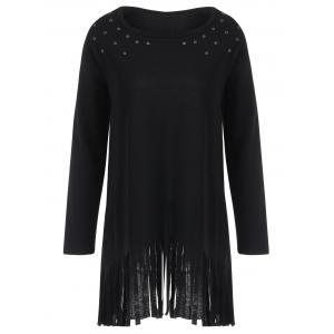 Fringed Eyelet Longline Plus Size Top