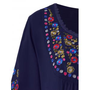 Plus Size Floral Embroidered Tunic Top -