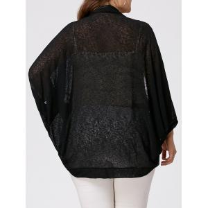 Plus Size Semi Sheer Collarless Batwing Sleeve Top - Black - 5xl