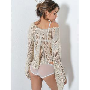 Asymmetric Crochet Hollow Out Sweater - LIGHT KHAKI ONE SIZE