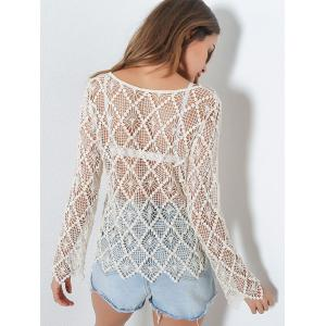 Sheer Crochet Hollow Out Sweater - LIGHT KHAKI ONE SIZE