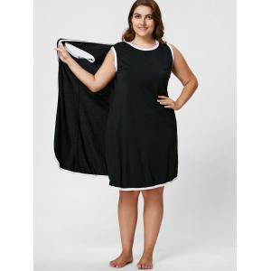 Longueur au genou Plus Size Beach Wrap Cover Up Dress - Noir XL