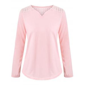 Long Sleeve V Neck Openwork T-shirt