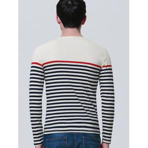 Color Block Stripe Panel Long Sleeve T-shirt -