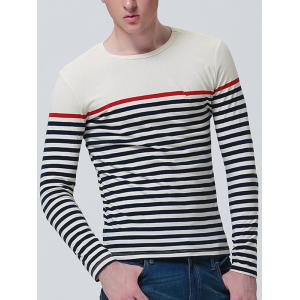 Color Block Stripe Panel Long Sleeve T-shirt