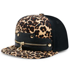 Faux Leather Splicing Leopard Zipper Baseball Hat - Leopard Print Pattern