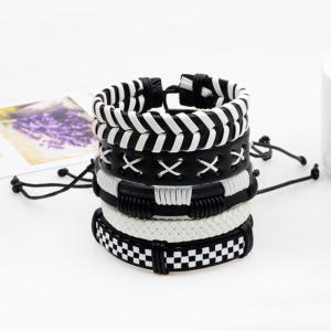 Layered Faux Leather Woven Vintage Bracelet Set - Black