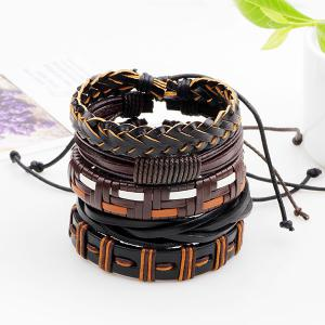 Faux Leather Woven Boho Layered Friendship Bracelets - Brown