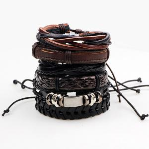 Retro Faux Leather Woven Layered Bracelets Set - Brown