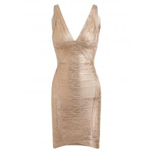 Bronzing V Neck Club Bandage Dress