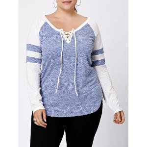 Long Sleeve Plus Size Lattice Baseball Top - Light Blue - 5xl