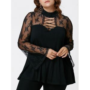 Plus Size Criss Cross See Thru Flare Sleeve Blouse - Black - 3xl