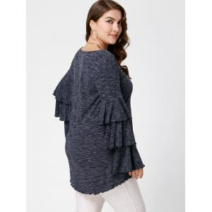 Plus Size Layered Flare Sleeve Top - BLACK GREY XL