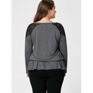 Plus Size V Neck Lace Trim Top - MOUSE GREY XL