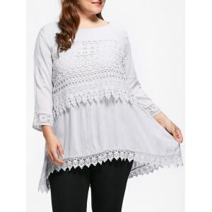 Casual Crochet Insert Plus Size Tuinc Top
