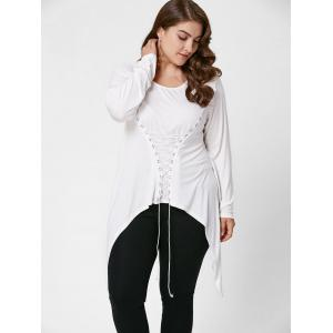 Lace-Up Bodice Layered Plus Size Top -