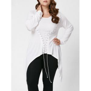 Lace-Up Bodice Layered Plus Size Top