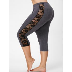Mesh Panel Lace Plus Size Cropped Leggings